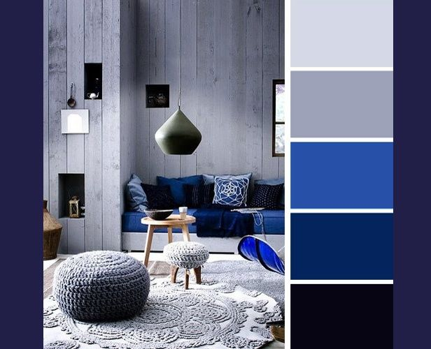 Blue And Gray Living Room Combination