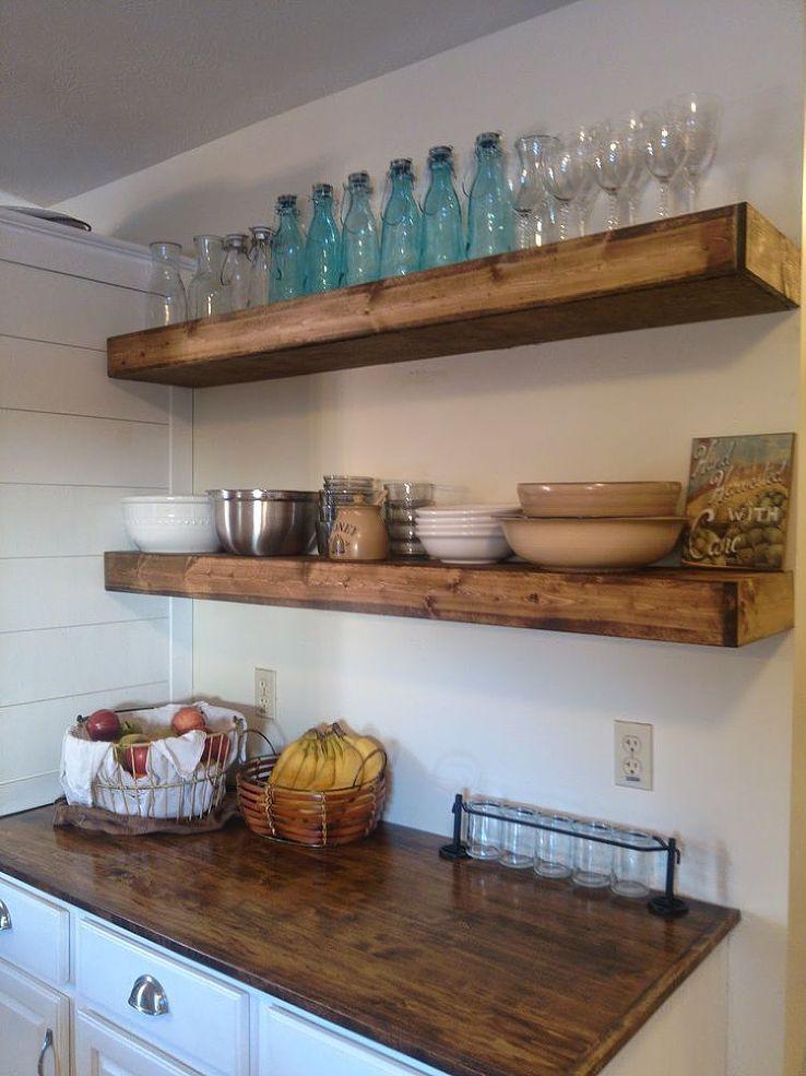 Wood Floating Shelves Kitchen