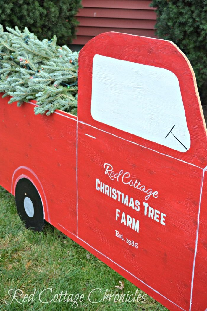 Red Truck Christmas Outdoor Decor