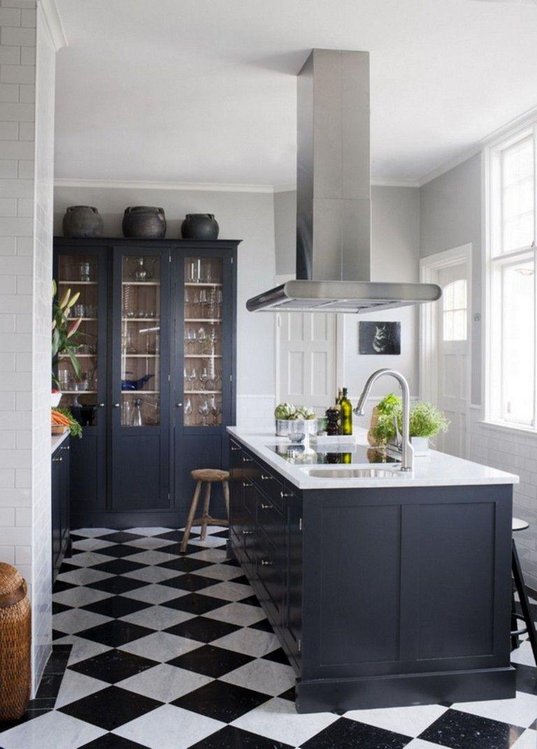 Black And White Tile Floor Kitchen
