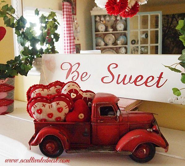 Red Truck Valentine Decor