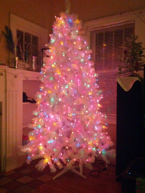 White Christmas Tree With Colored Lights
