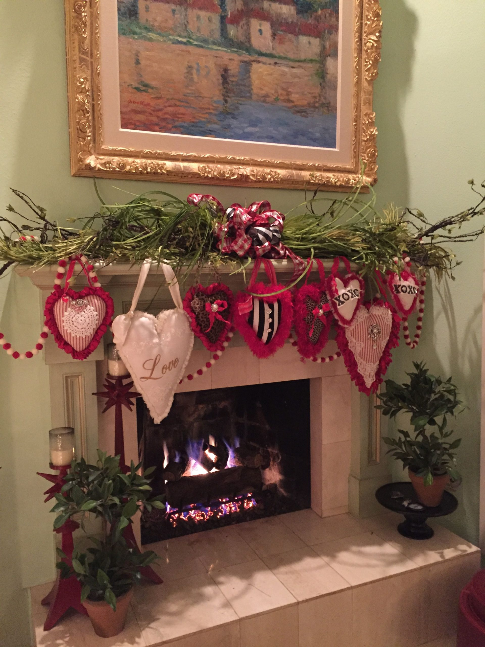 Valentine's Day Fireplace Decor