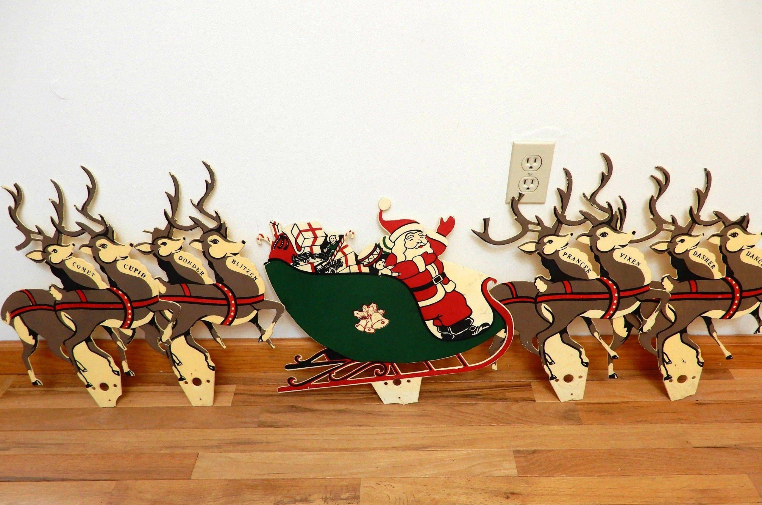 Vintage Santa Sleigh And Reindeer Outdoor Decoration