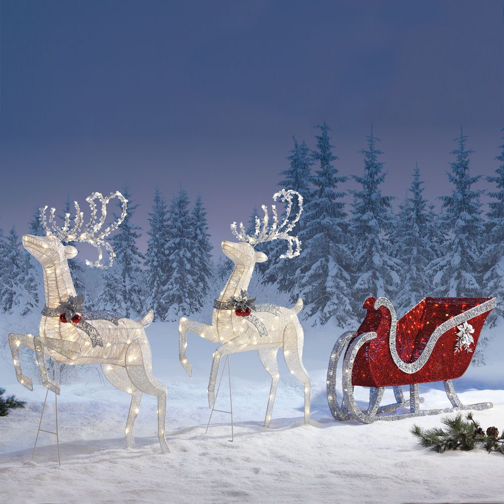 Santa Sleigh And Reindeer Outdoor Decoration