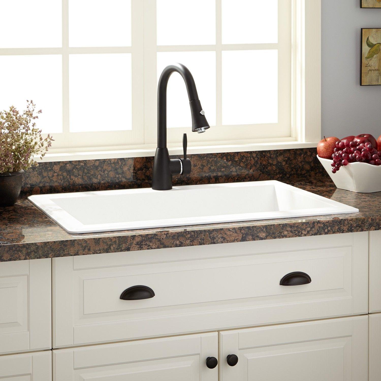 White Drop In Kitchen Sink
