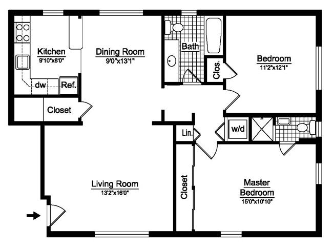 Two Bedroom House Plans